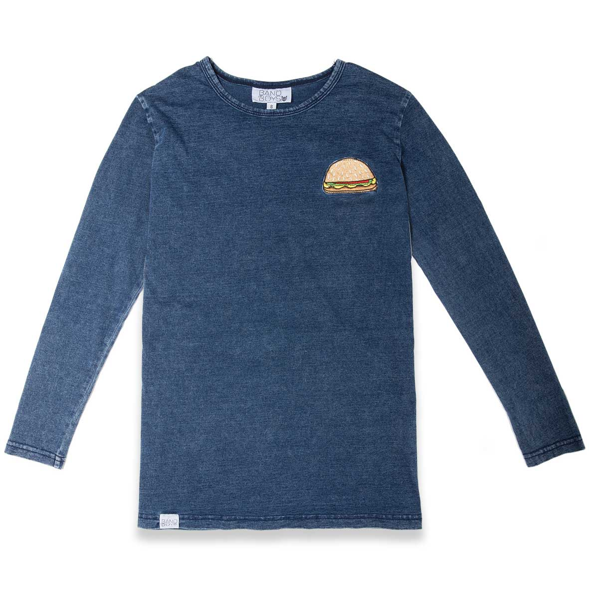 Burger Patch Long Sleeve Tee Blue Denim