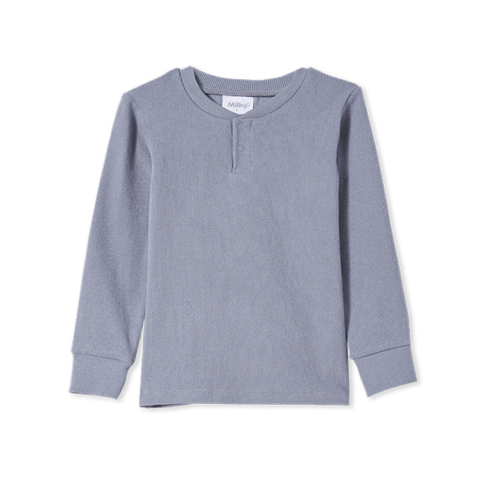Rib Henley Tee Cloud