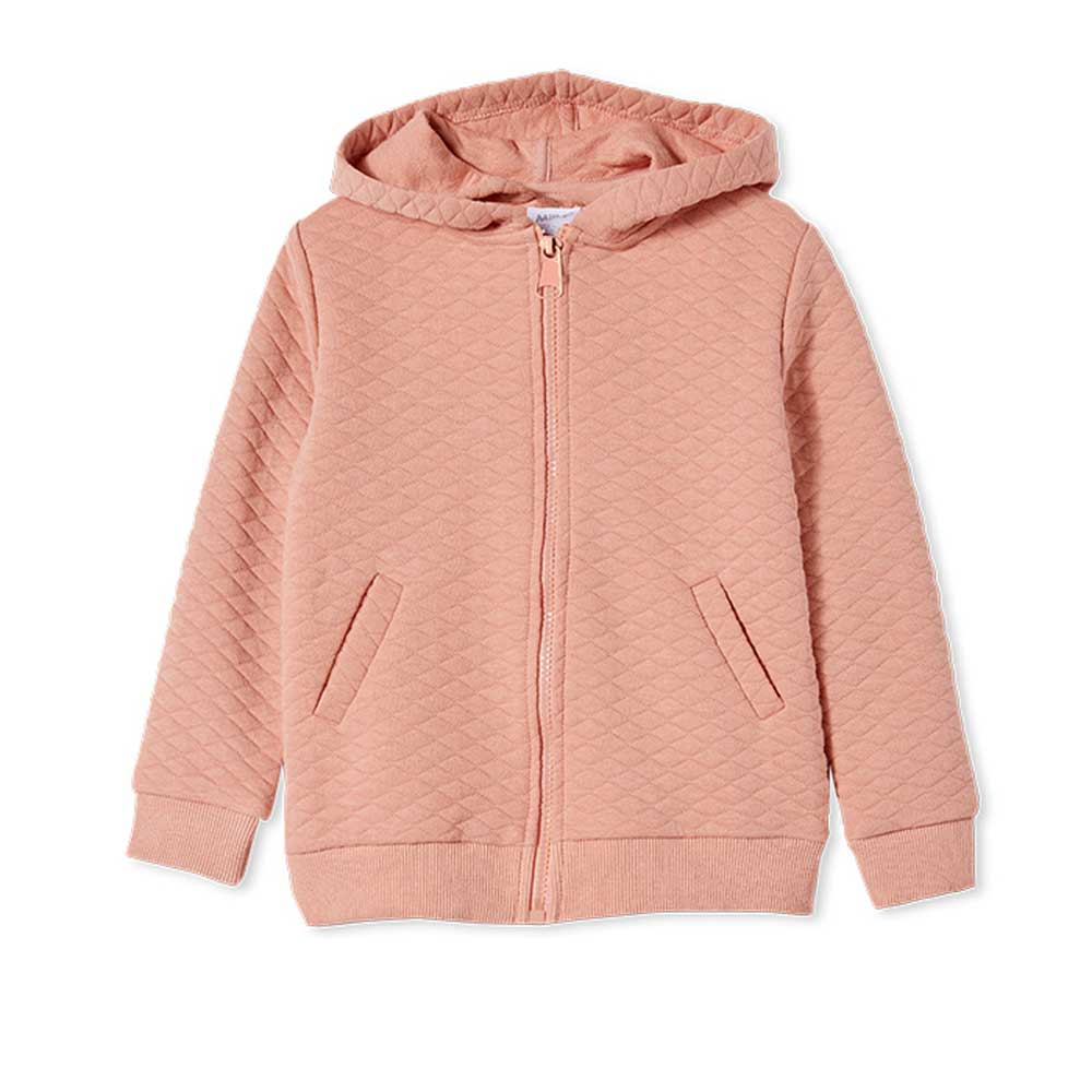 Quilted Hood Girls Jacket Blush