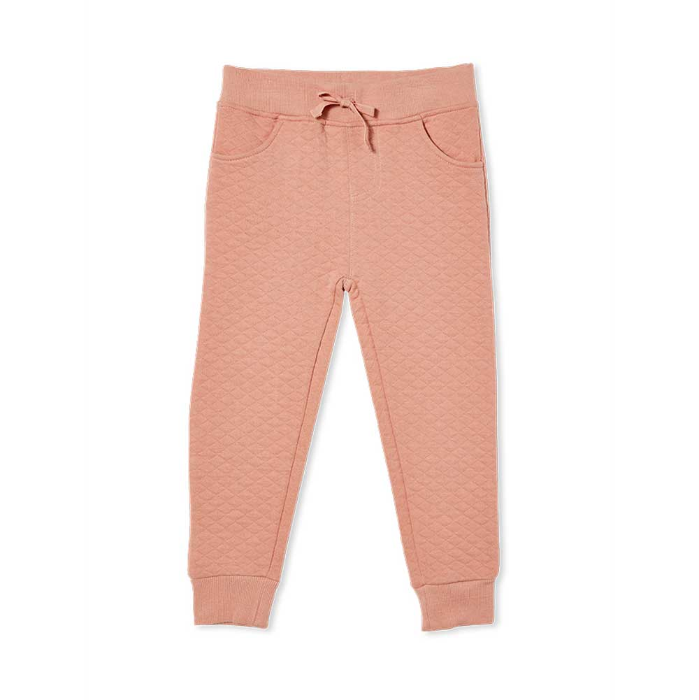 Girls Quilted track Pants Blush