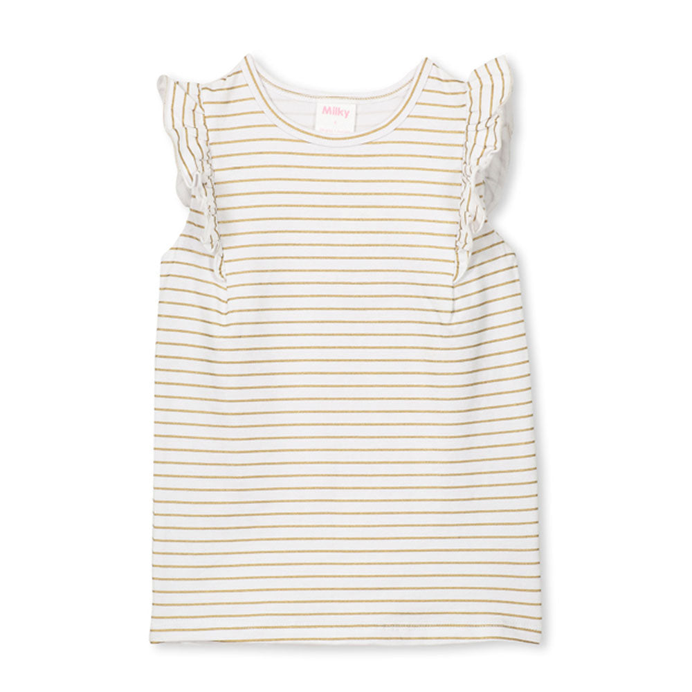 Girls Gold Stripe Tee