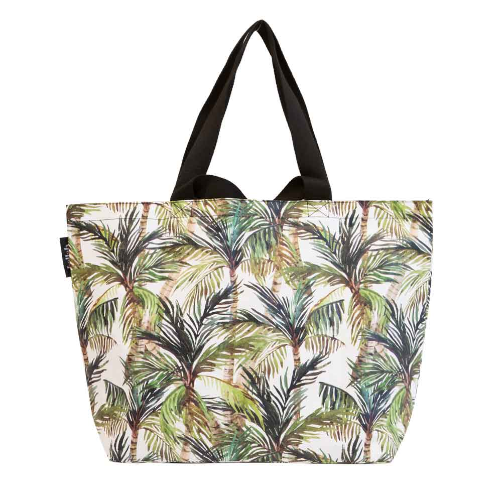 Poly Shopper Tote Green Palm