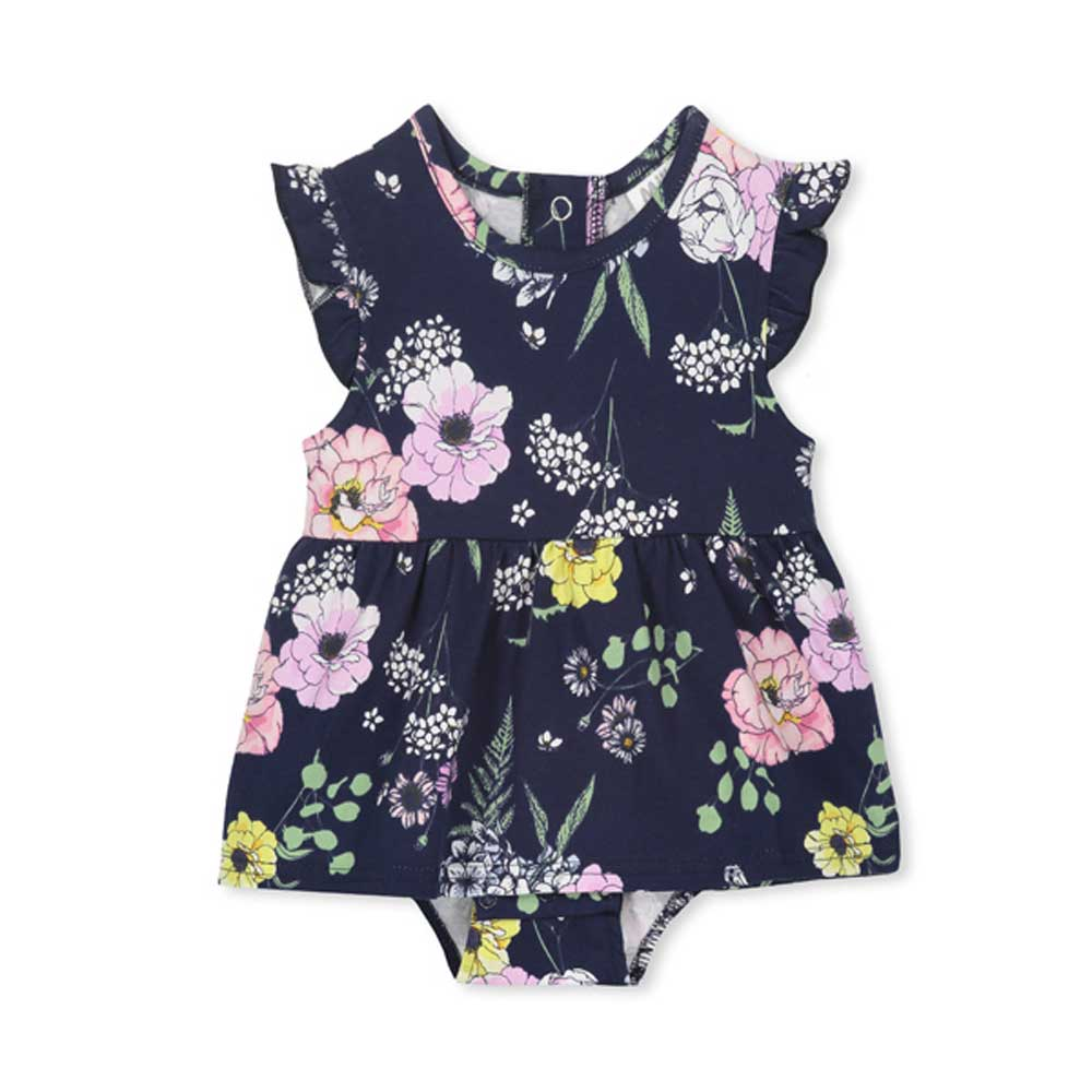 Navy Floral Baby Dress