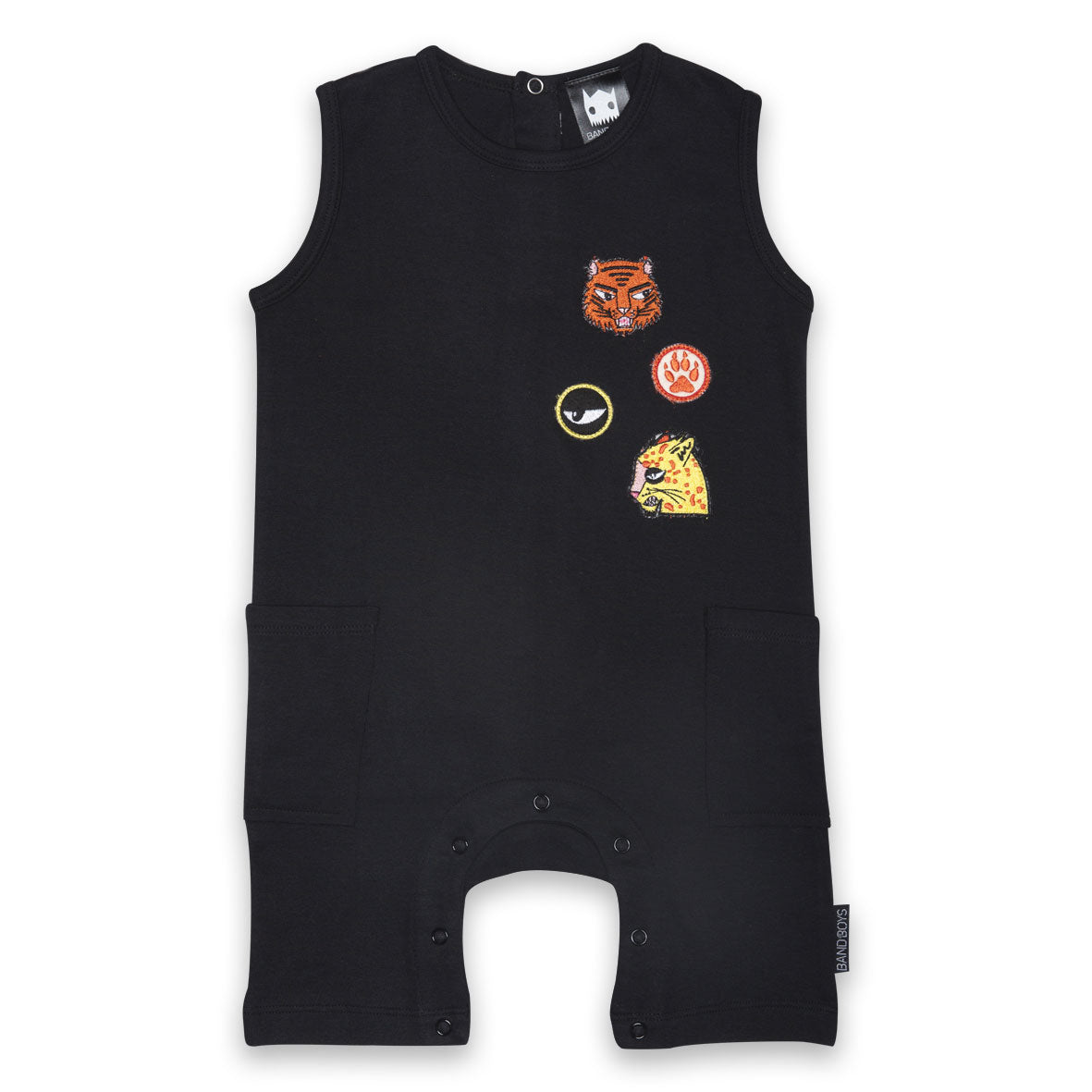 Organic Badges Baby Romper Black