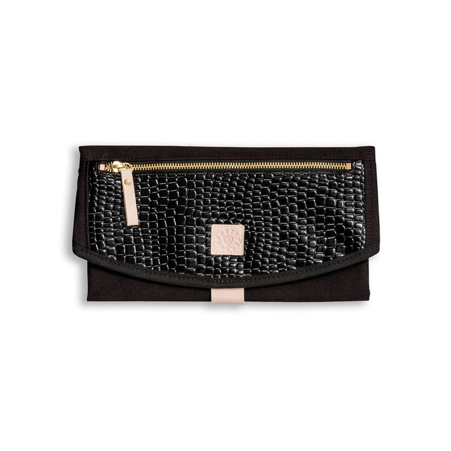 The Round-About Nappy Clutch Black Croc