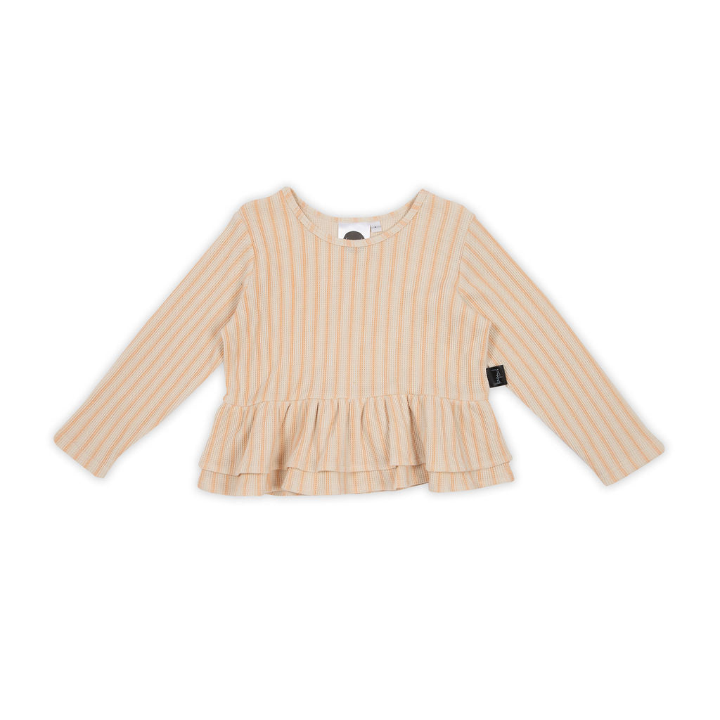 Retro Stripe Peplum LS T-Shirt