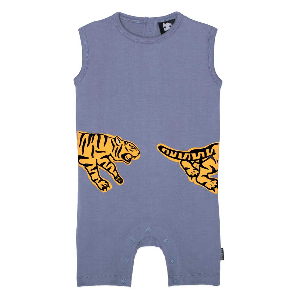 Organic Pouncing Tiger Baby Romper Blue