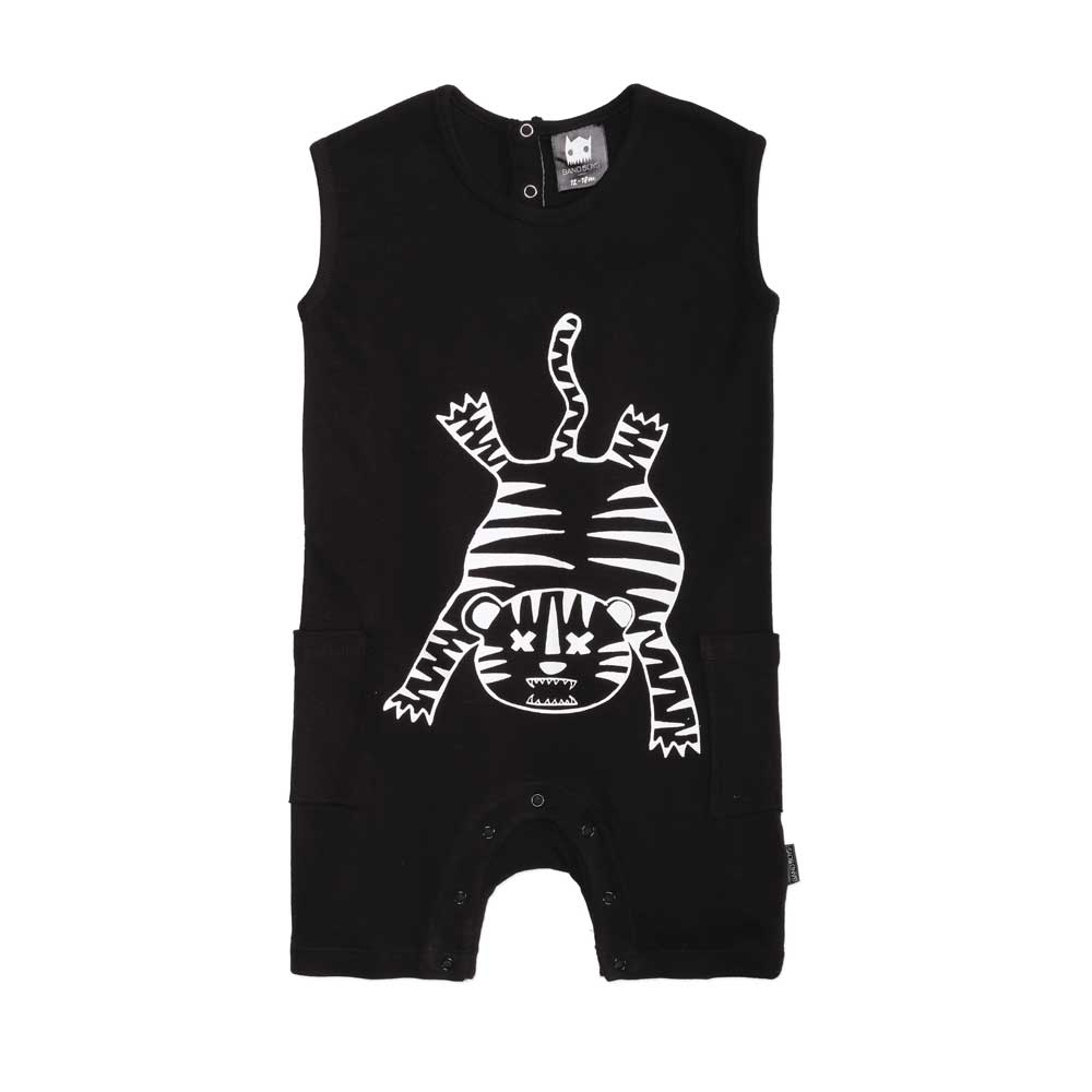 Organic Tiger Outline Baby Romper Black