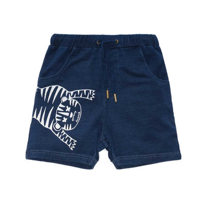Tiger Outline Shorts Denim Look
