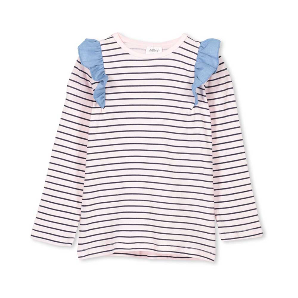 Stripe Frill Tee Pale Rosemary