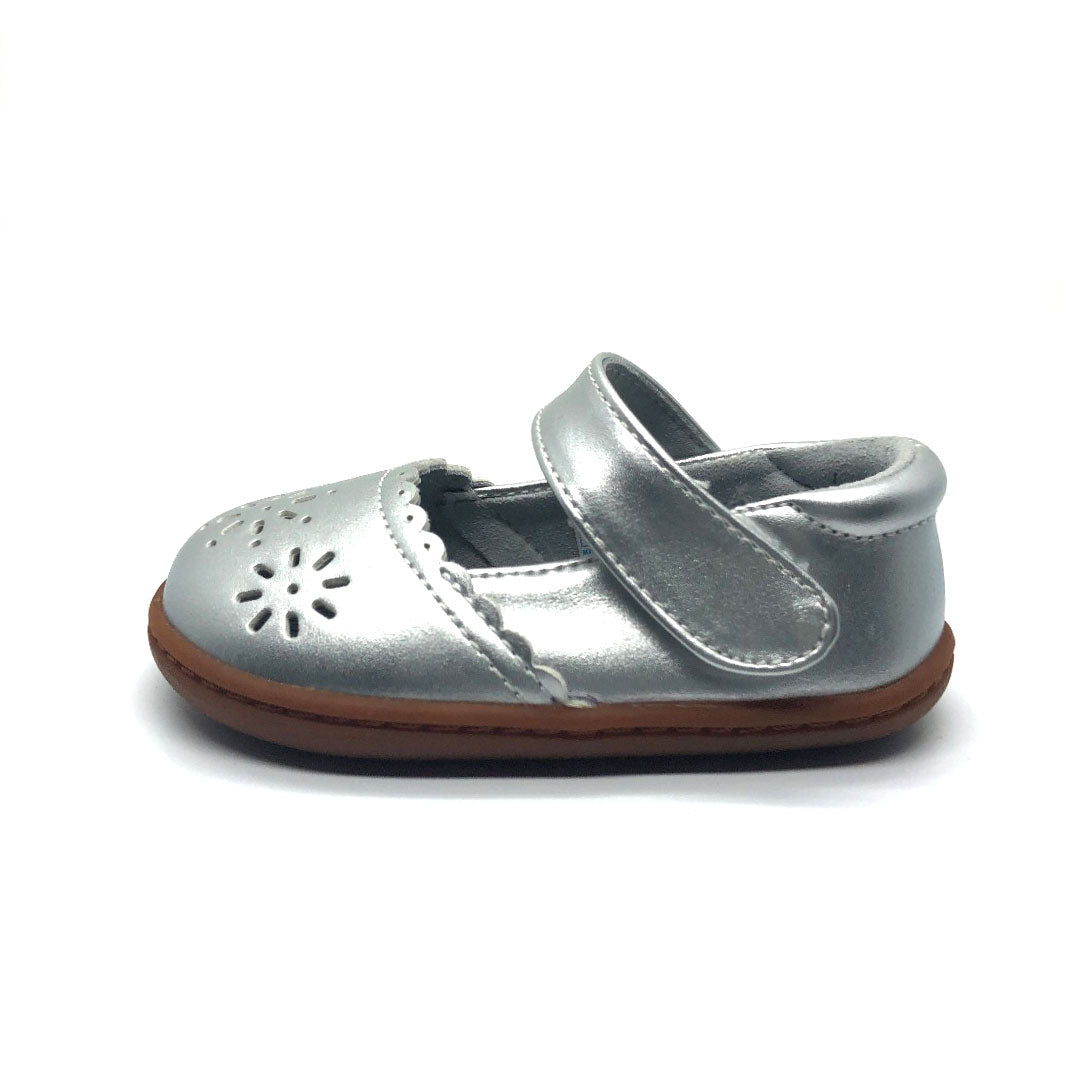 Silver Petal Mary Jane Baby Shoe