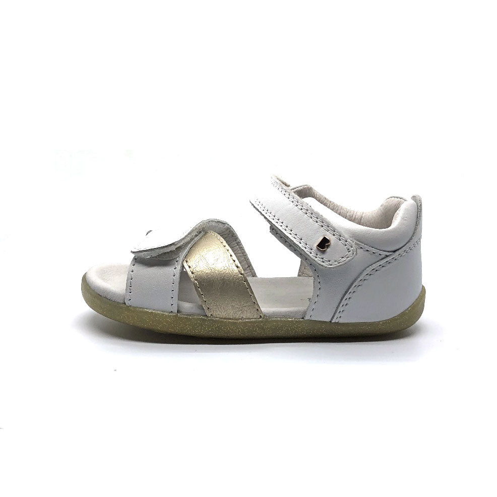 Step Up Sail Sandal White + Misty Gold