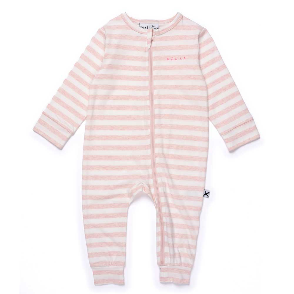 Striped Baby Zippy Suit Muted Pink