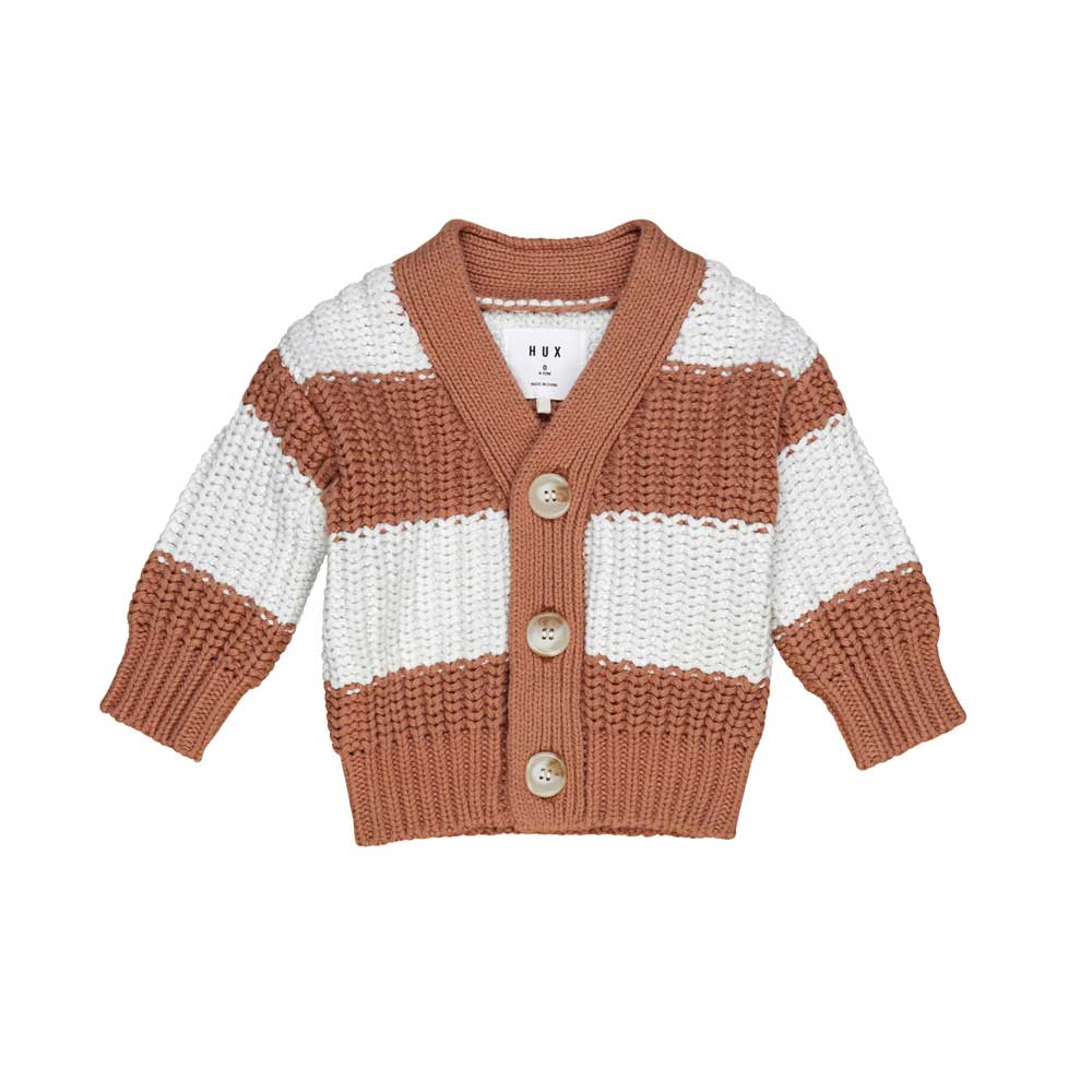 Terracotta Stripe Chunky Cardigan