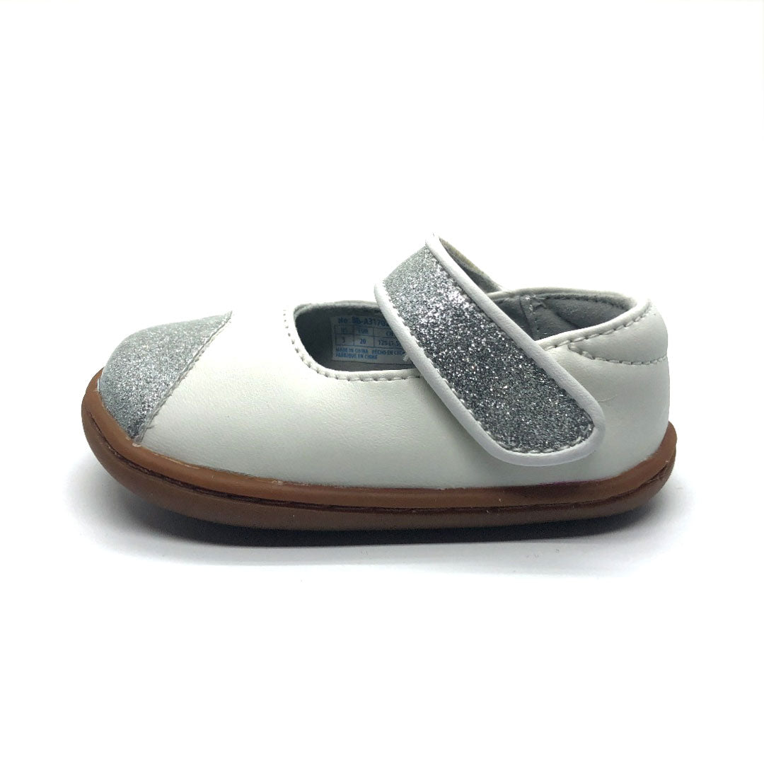 White and Silver glitter Mary Jane Baby Shoe