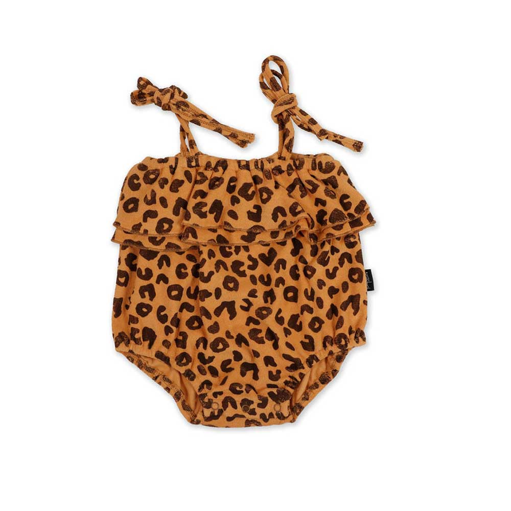Animal Print Terry Balloon Romper