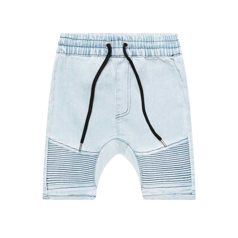 Blue Denim Biker Shorts