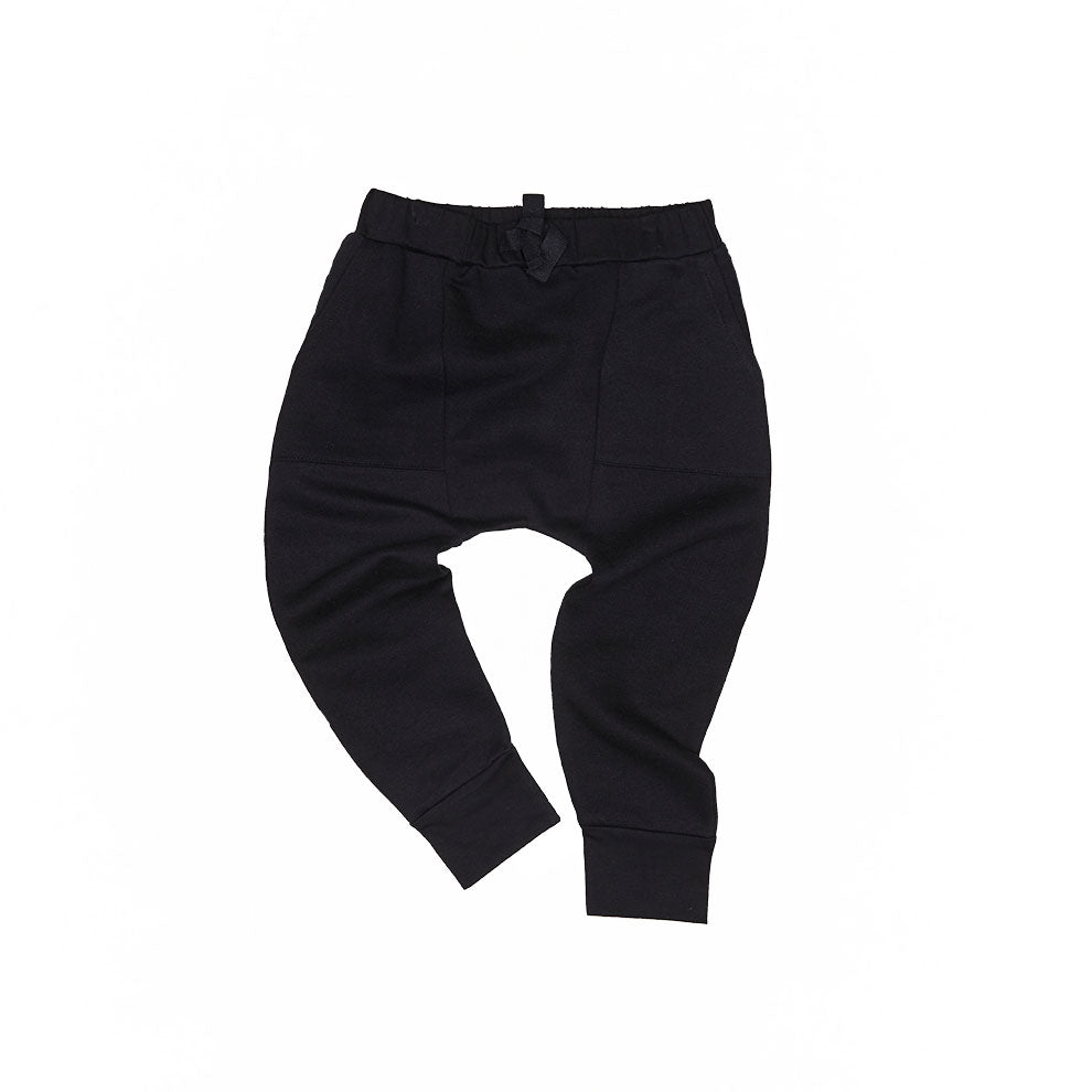 Black Pocket Drop Crotch Pant