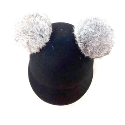 Black wool felt pom pom hat