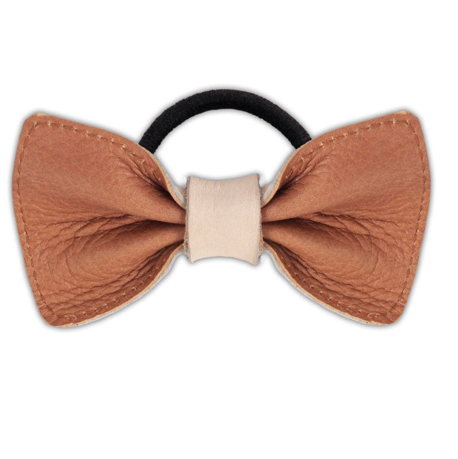 Leather Girls Bow Cognac