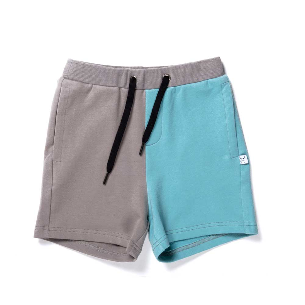 Branded Sweat Short Slate/Aqua