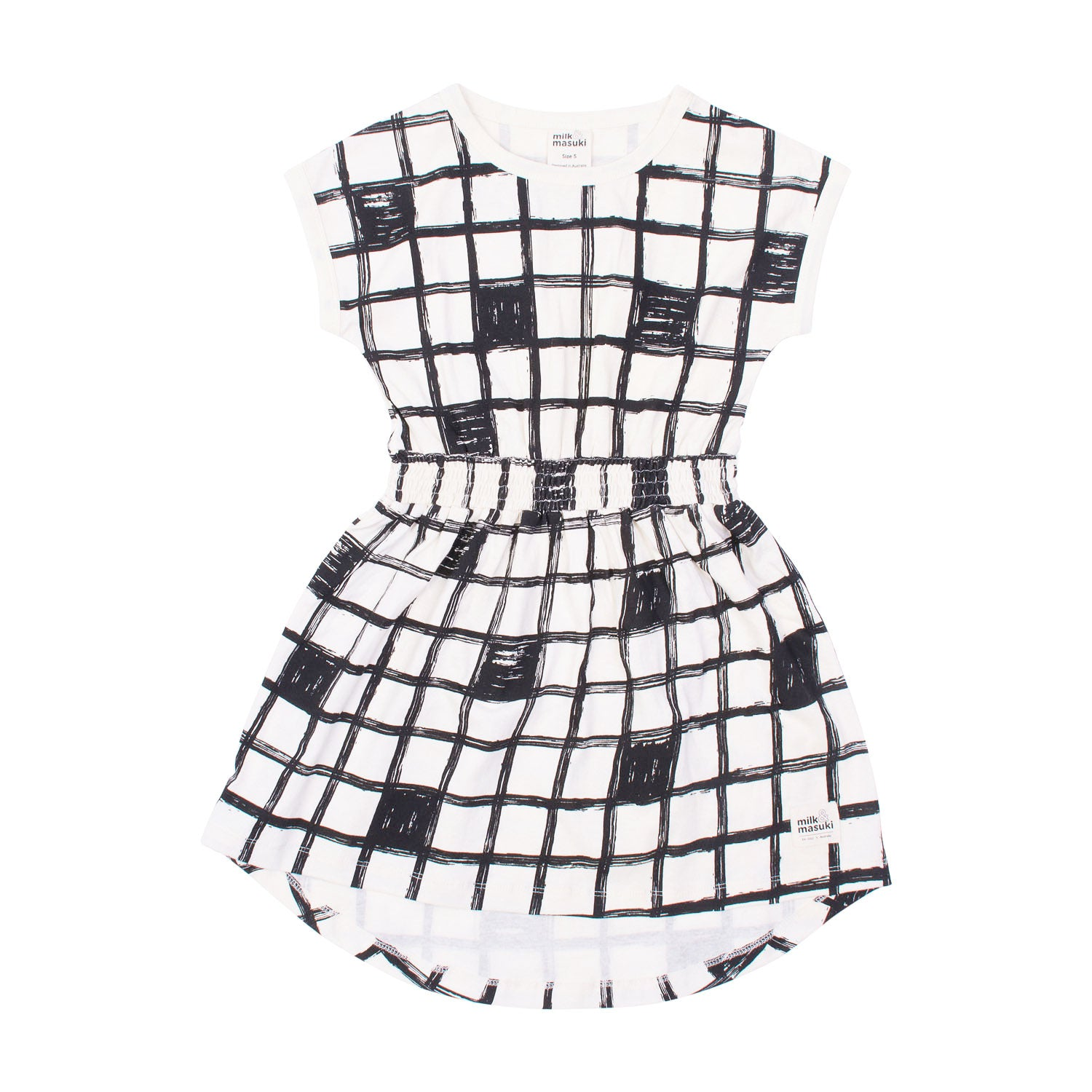 Checker Elastic Waist Dress