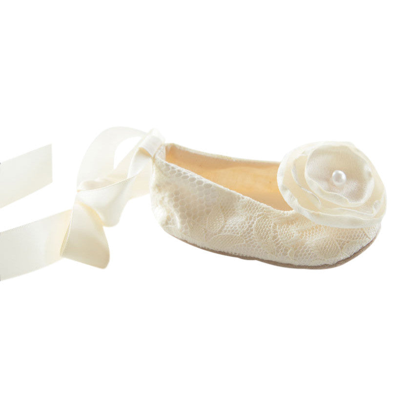Ivory Lace Baby Shoes