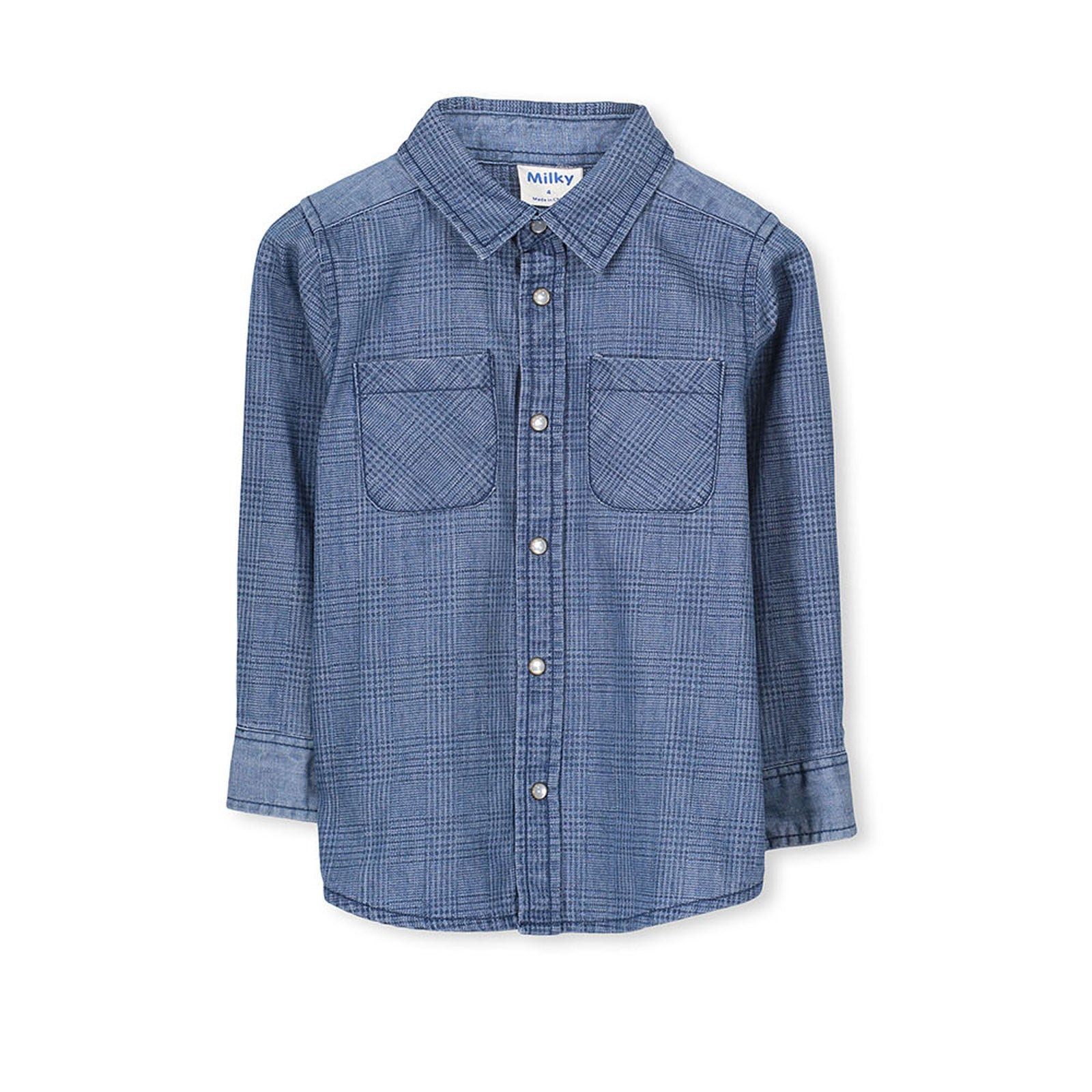 Milky Baby Blue Denim Check Shirt