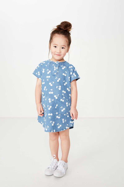 Girls Denim Cherry Dress