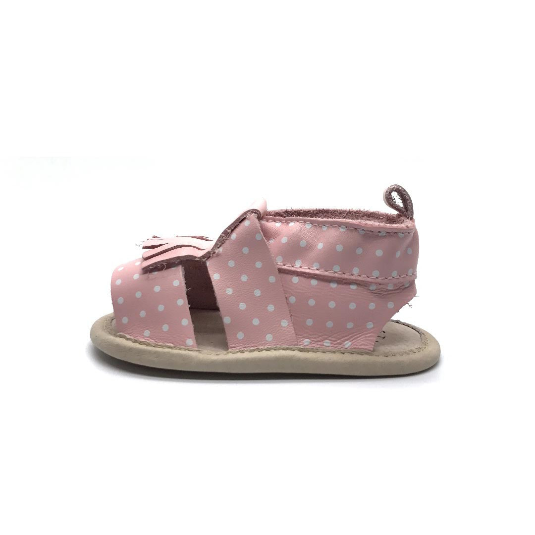 Fringe Sandal Pink With Dots