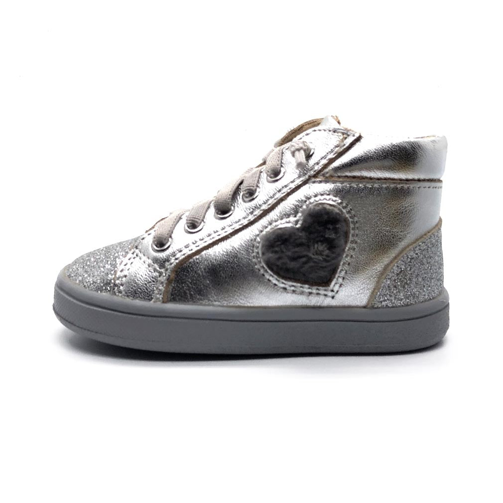 Glam Heart Toddler High Top Silver