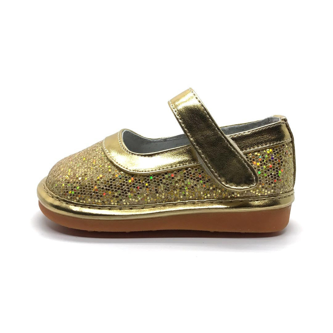 Gold Glitter Squeaky Mary Janes