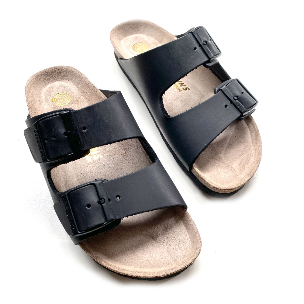 Womens Hawaii Black Oiled Leather Sandal