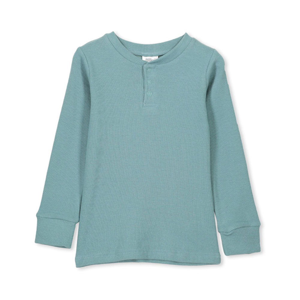 Henley Tee Sea pine Green