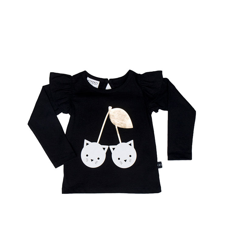 Black Frill LS Top