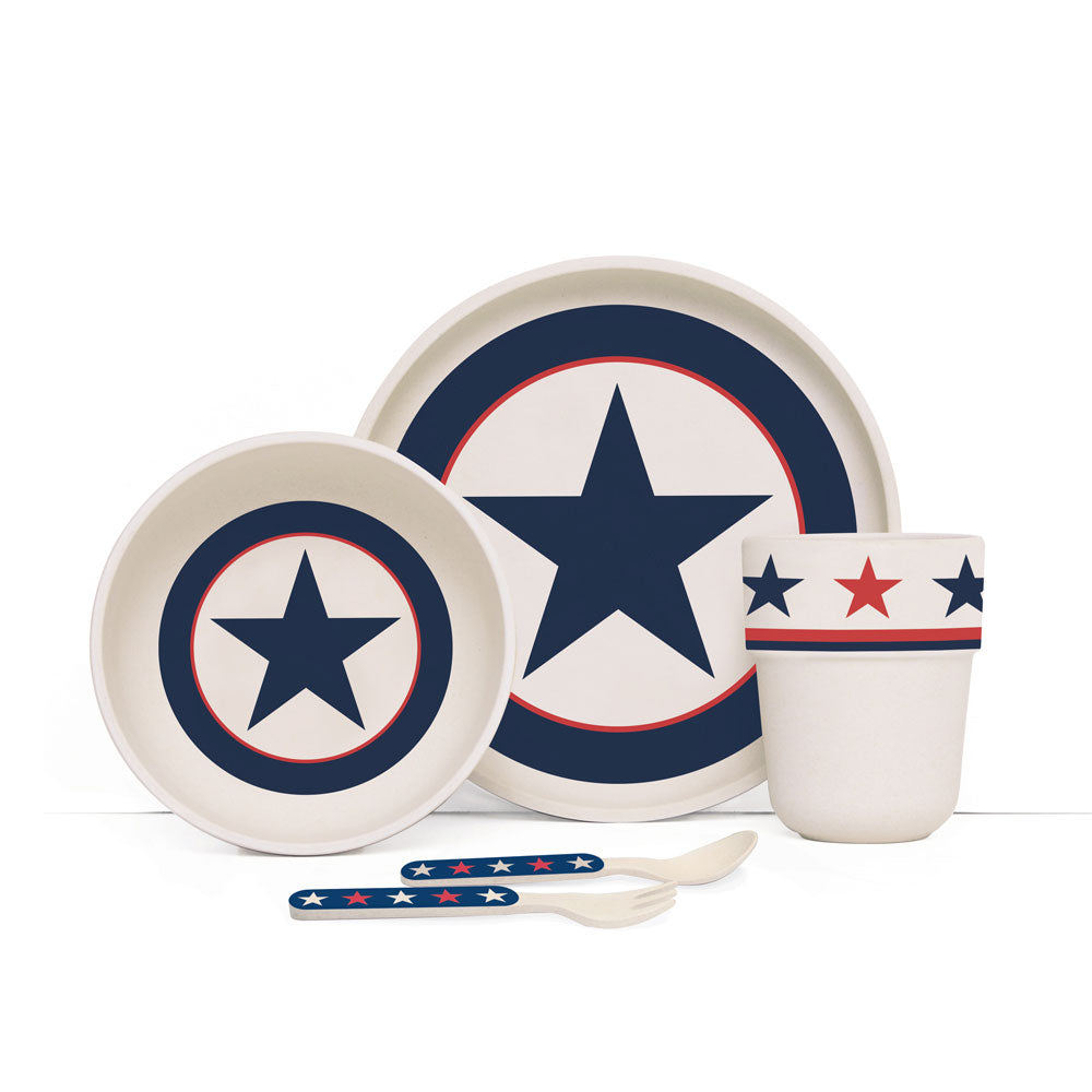 Navy Star Bamboo Meal Time Set