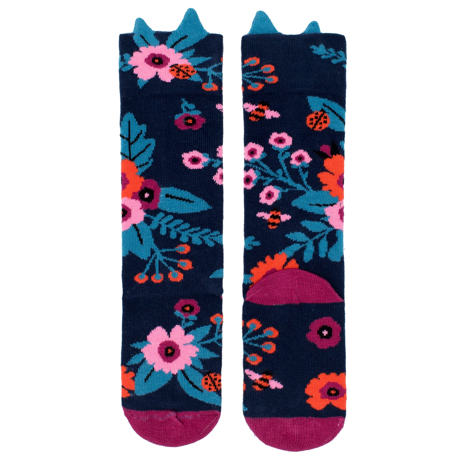 Navy Garden Knee High Sock