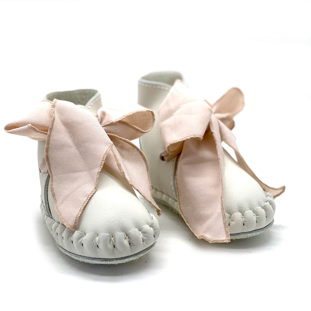 Pina Organza Baby Boot white and powder pink cotton