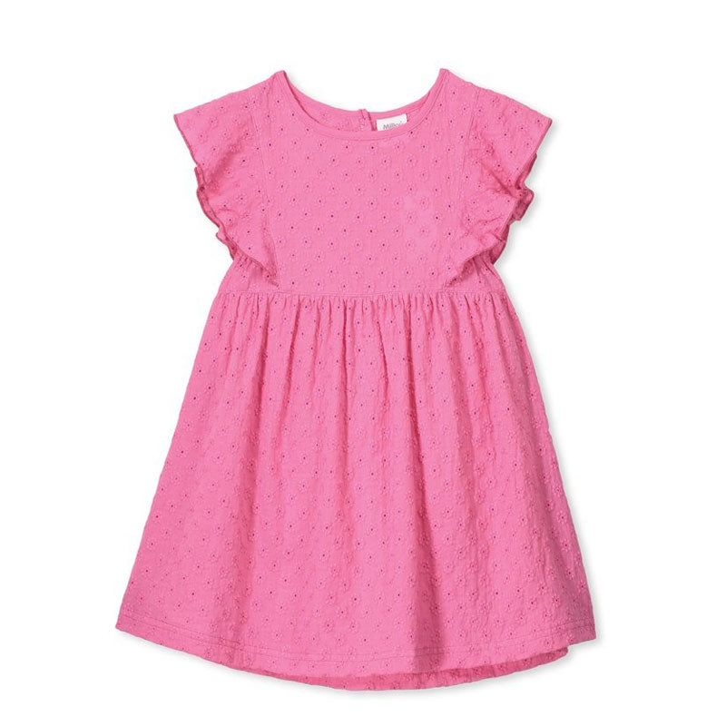 Broderie Girls Dress Hot Pink