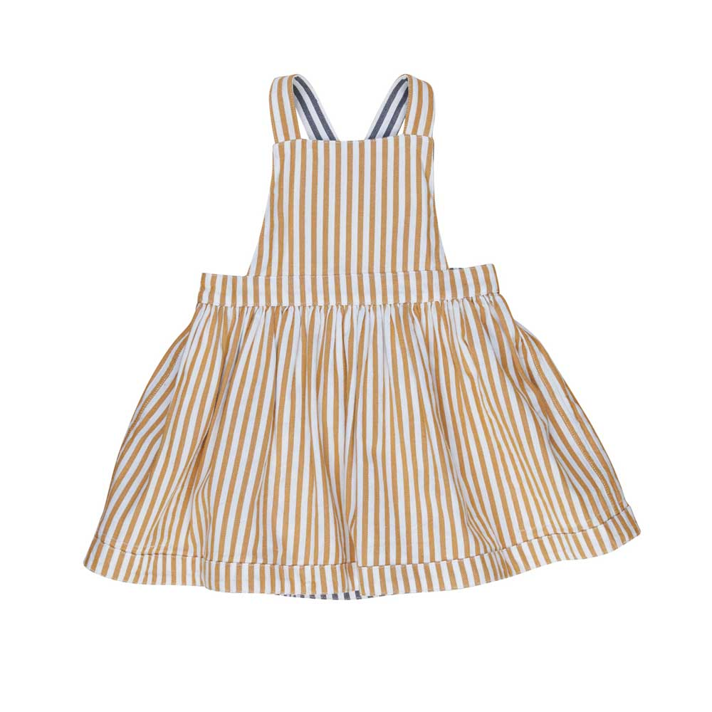 Stripe Reversible Pinafore Navy + Mustard Stripe