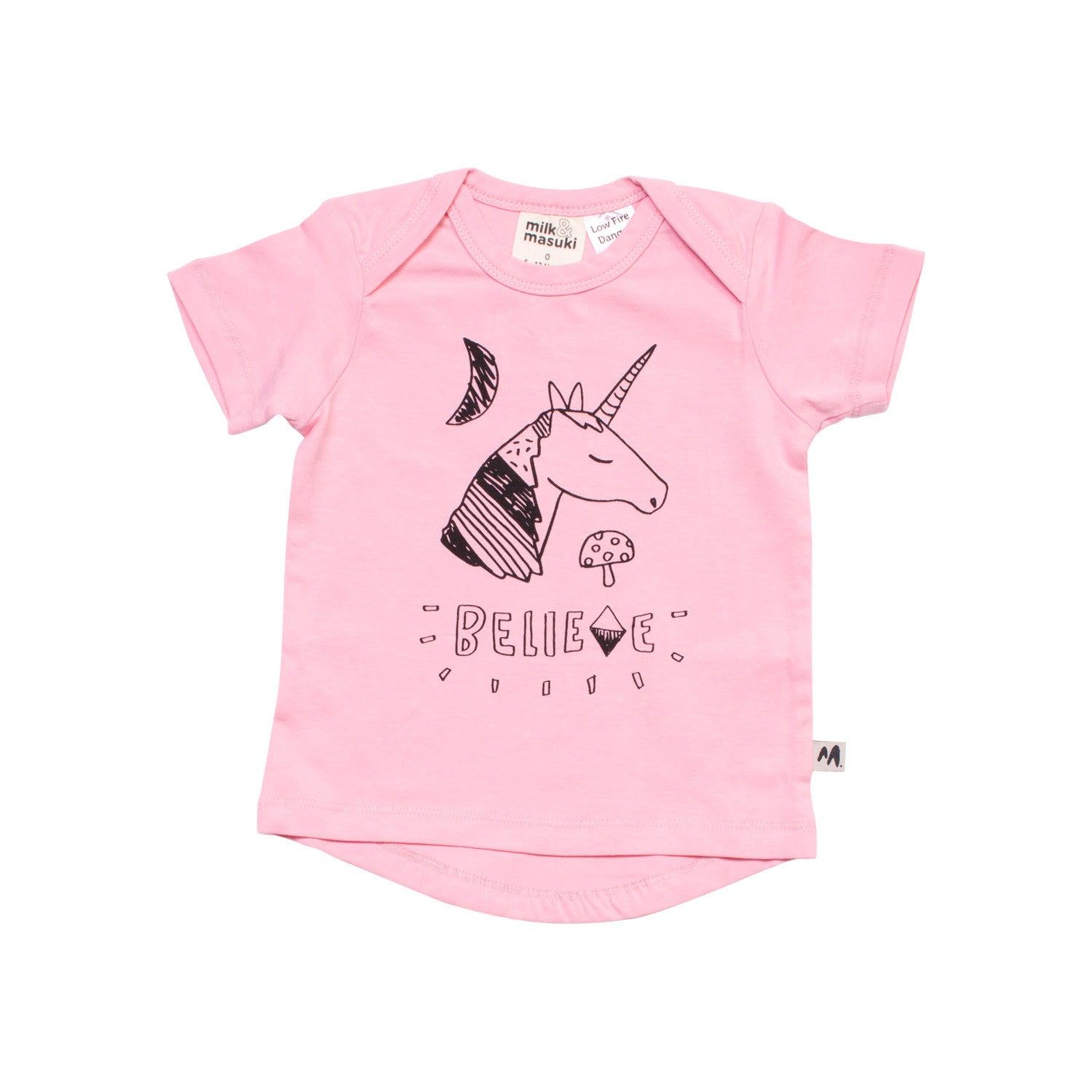 Believe Placement Short Sleeve Tee Pink