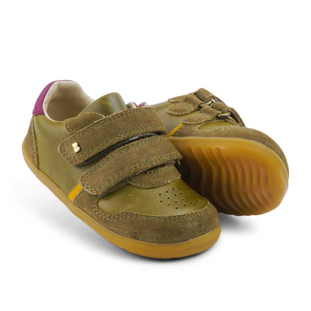 Step Up Riley Baby Sneaker Olive + Boysenberry