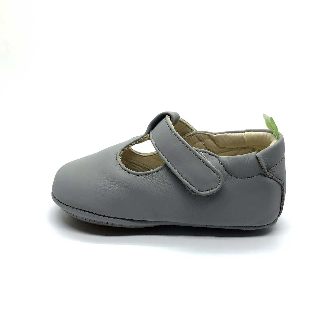 Strappy Baby Shoe Grey Clay
