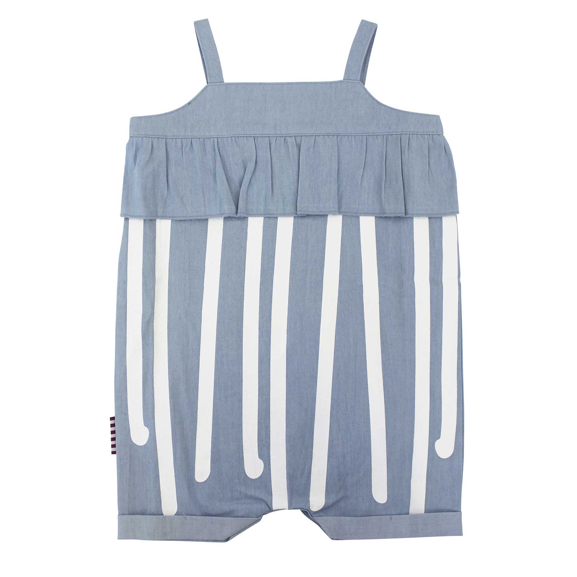 Stripe Chambray Frilly Playsuit