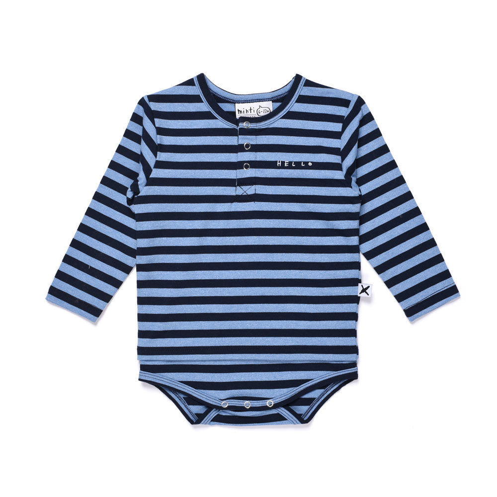 Navy Striped Henley Tee Onesie