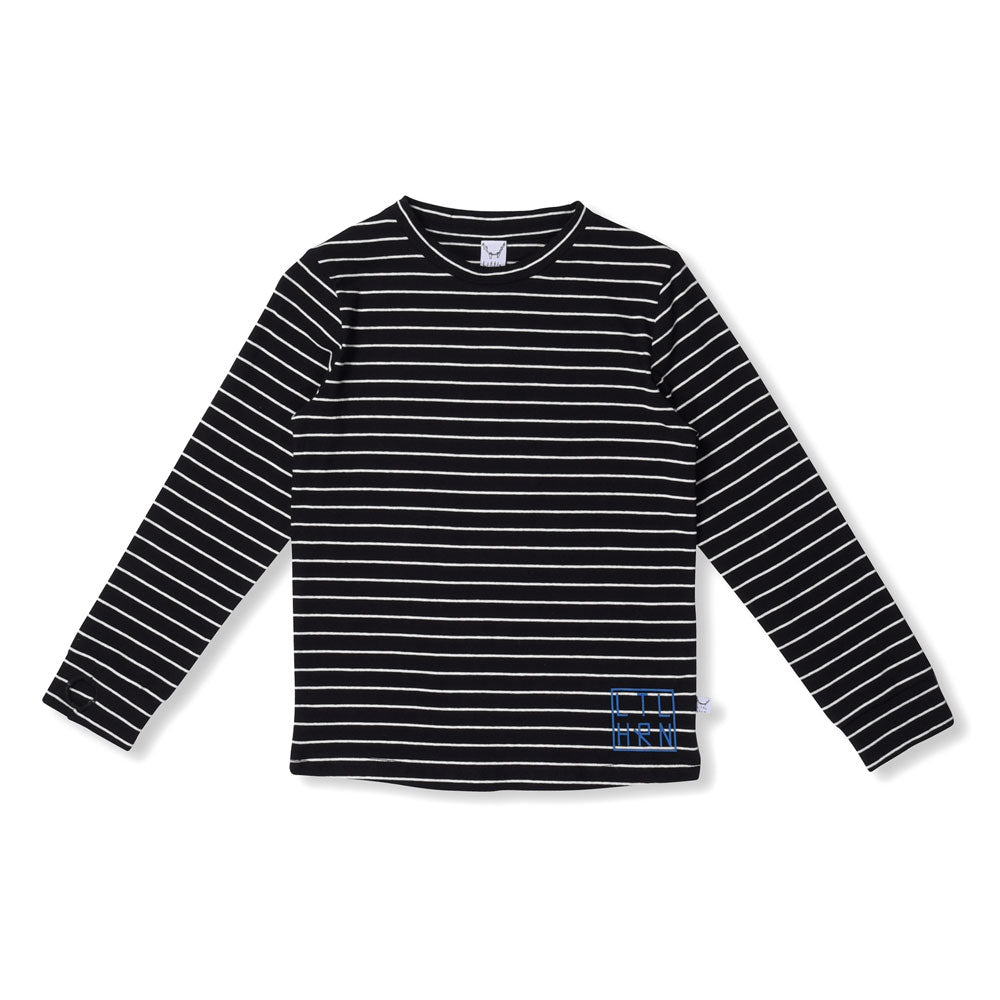Striped Thumbhole Tee Black