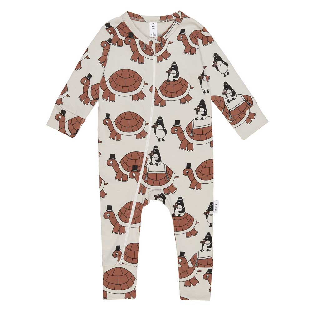 Turtle Tour Baby Zip Romper