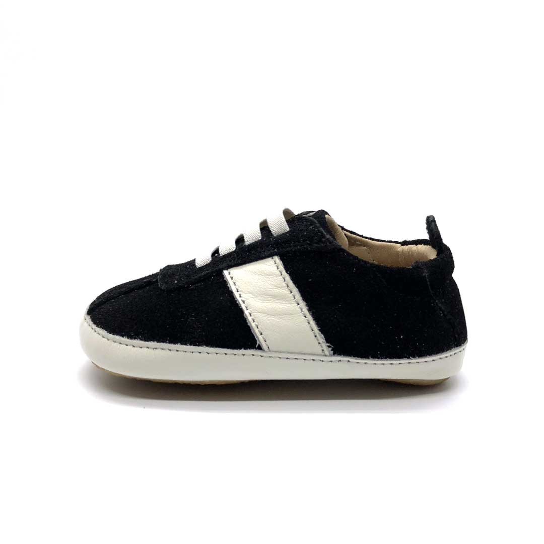 Vintage Bambini Shoes Black Suede/White