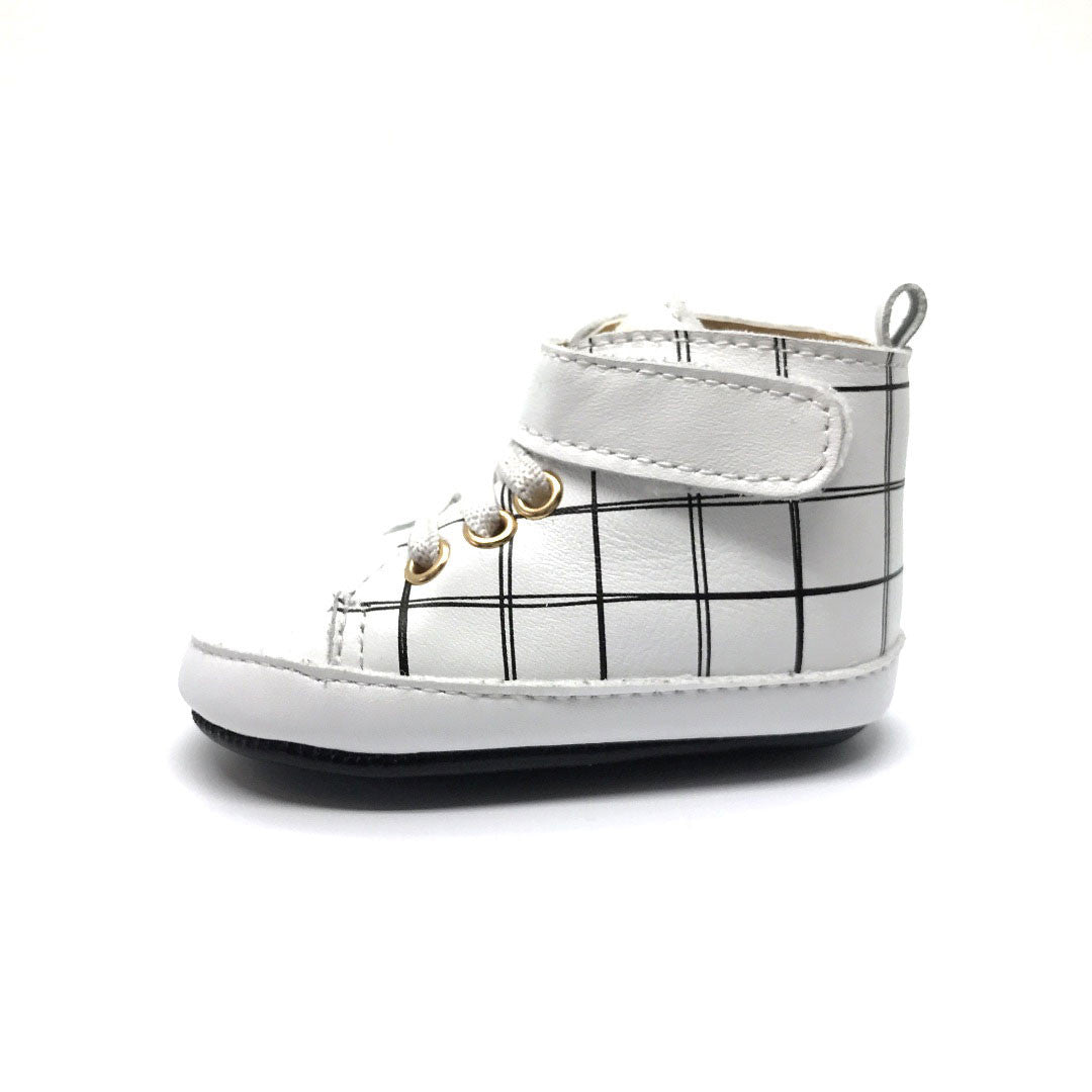 White Grid Leather High Top