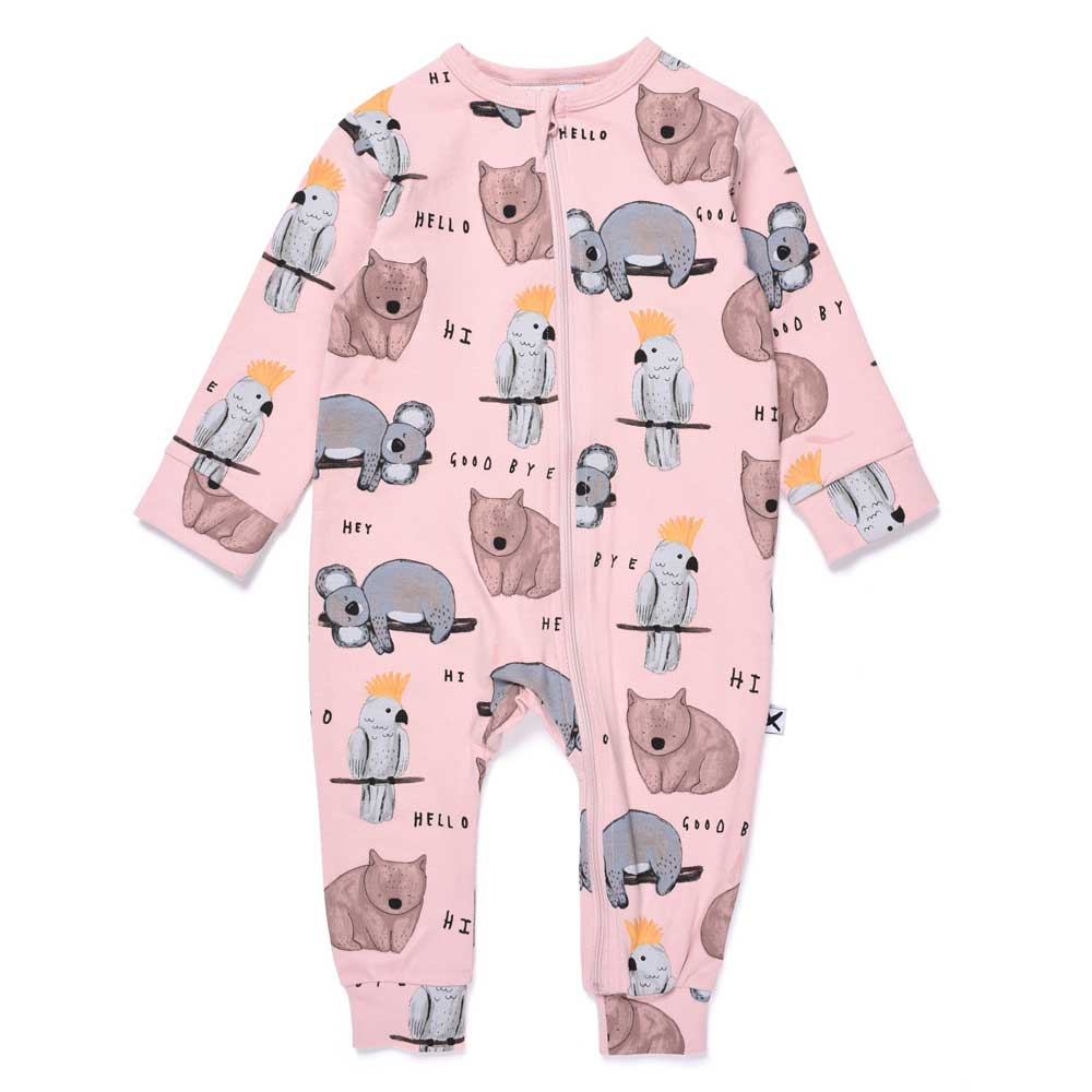 Wildlife Baby Zippy Suit Muted Pink